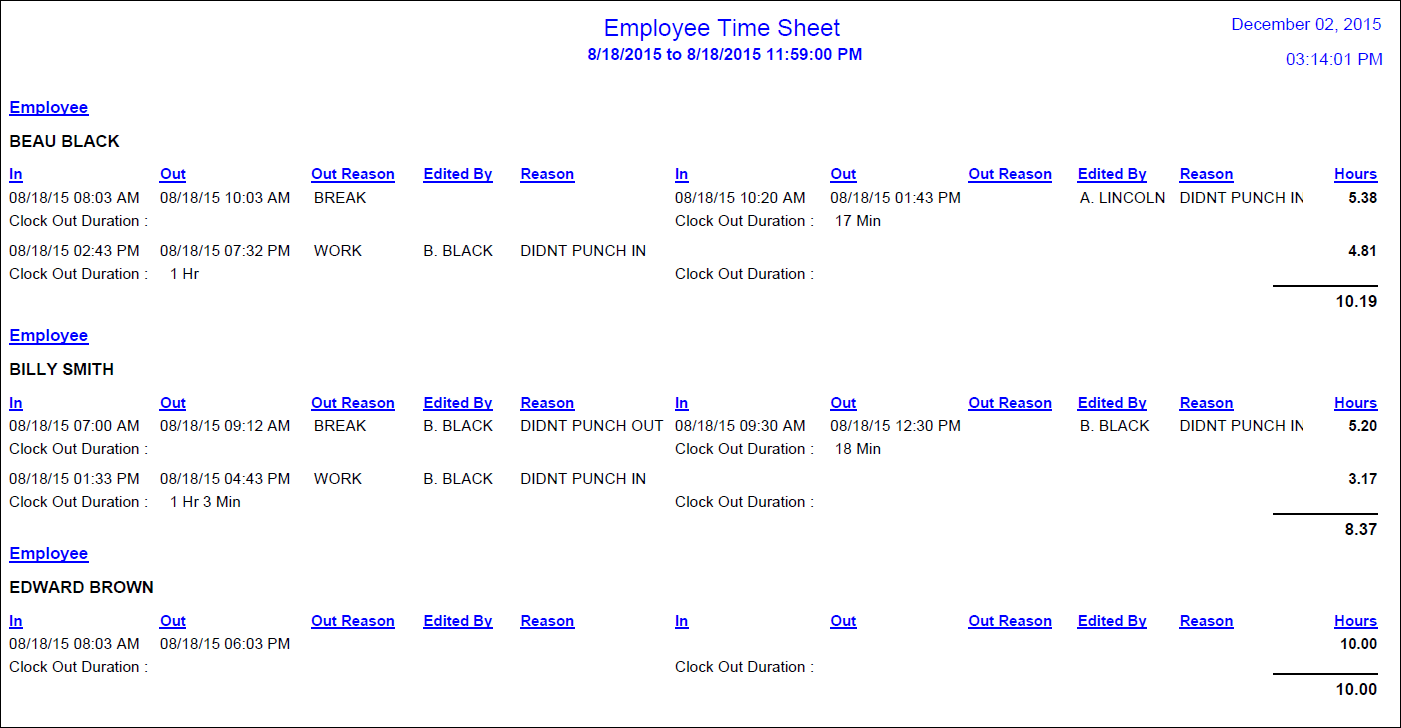 clock in and out sheet