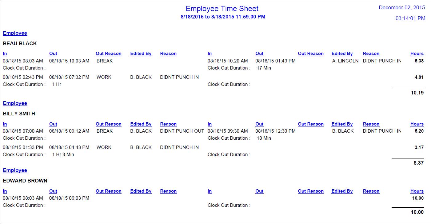 employees time sheet