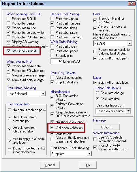 Configure VIN Decoding on the Edit Vehicle Window